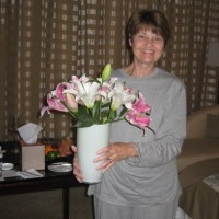 "Cousin Cathy with ""Welcome Lilies"""