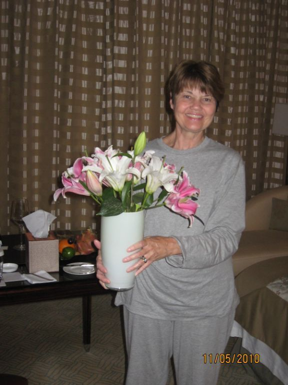 """Cousin Cathy with """"Welcome Lilies"""""""